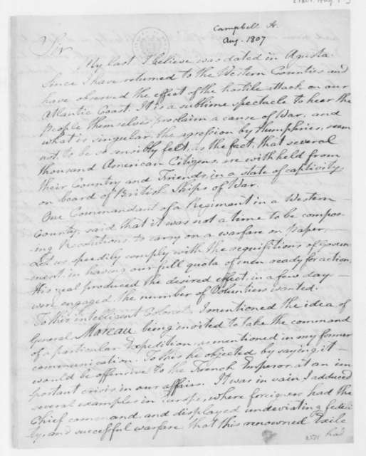 Arthur Campbell to James Madison, August 7, 1807.