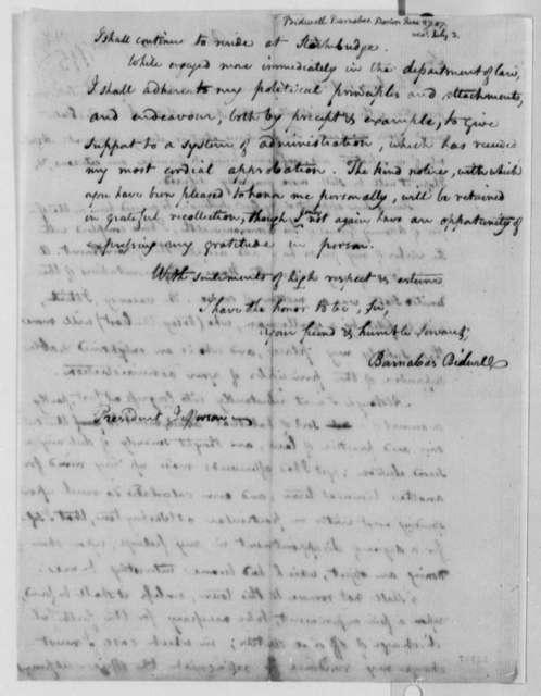 Barnabas Bidwell to Thomas Jefferson, June 27, 1807