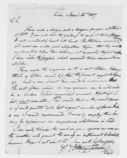 Benjamin H. Latrobe, Surveyor of the Public Buildings to Thomas Jefferson, March 21, 1807, two same date