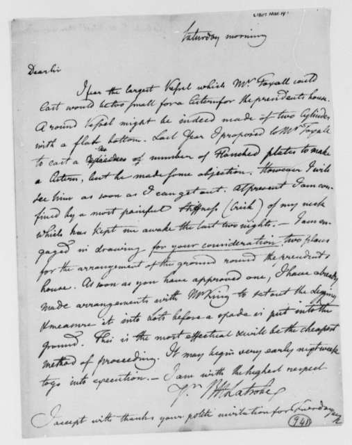 Benjamin H. Latrobe, Surveyor of the Public Buildings to Thomas Jefferson, March 14, 1807