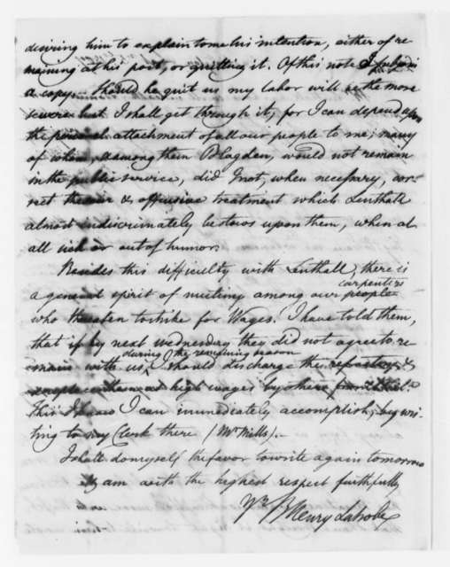 Benjamin H. Latrobe, Surveyor of the Public Buildings to Thomas Jefferson, September 5, 1807, two same date