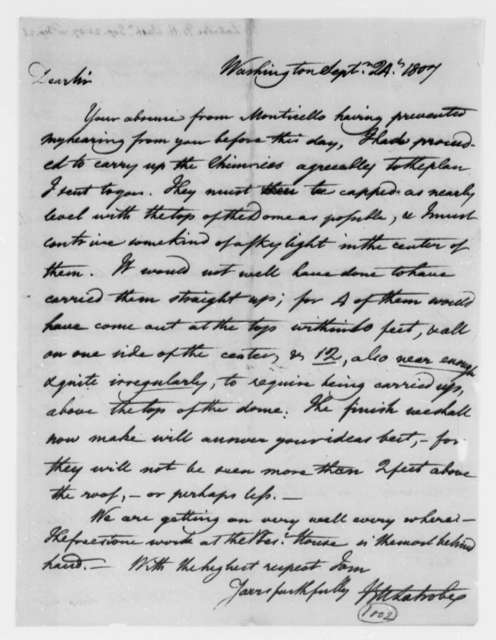Benjamin H. Latrobe, Surveyor of the Public Buildings to Thomas Jefferson, September 24, 1807