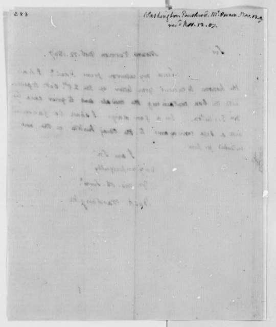 Bushrod Washington to Thomas Jefferson, November 12, 1807