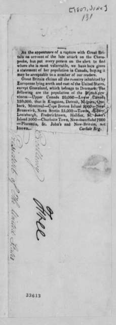 Carlisle, Pennsylvania, Register, June 1807, USS Chesapeake