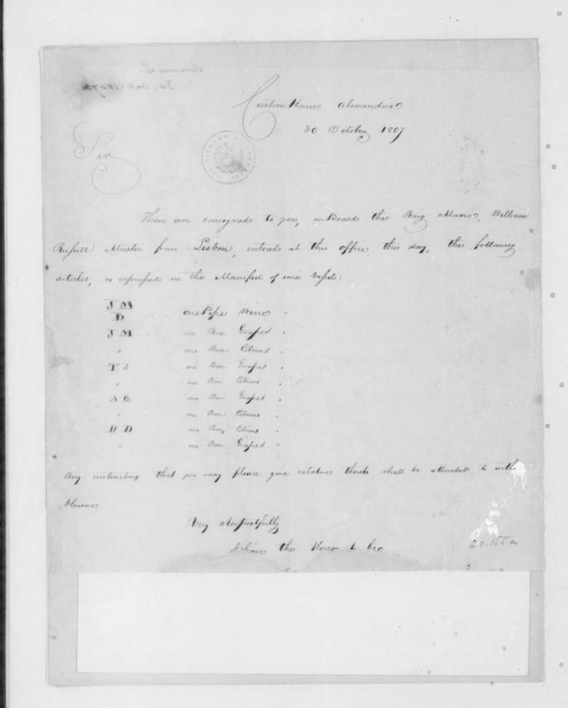 Charles Simms to James Madison, October 30, 1807. & Acct-Rcpt-Bill Lading.