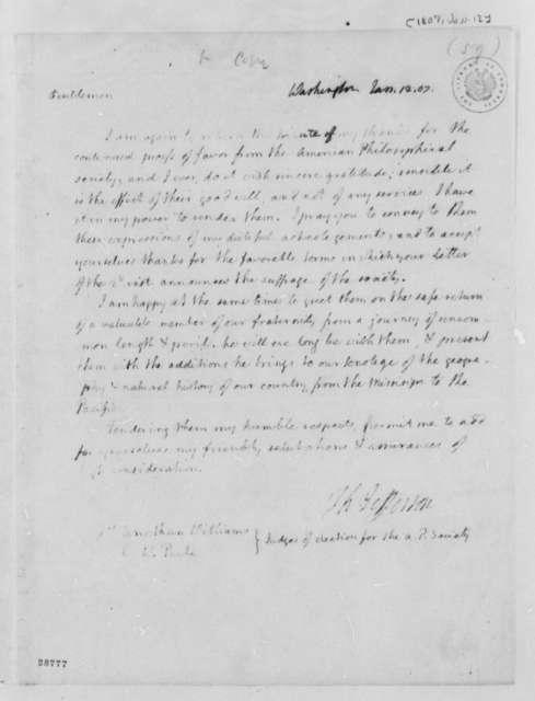 Charles Willson Peale to Charles Willson Peale and Jonathan Williams, January 12, 1807