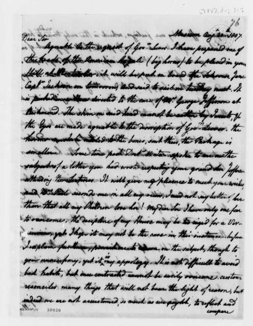 Charles Willson Peale to Thomas Jefferson, August 30, 1807