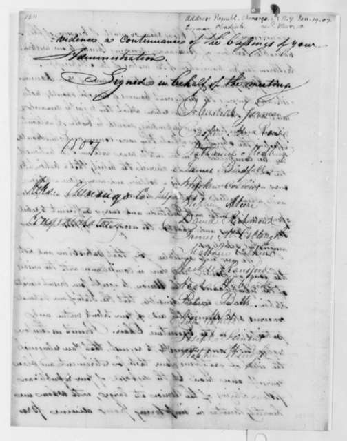 Chenango County, New York, Republicans to Thomas Jefferson, January 19, 1807, Resolution
