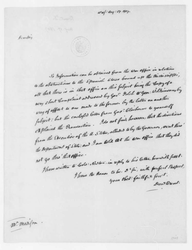 Daniel Brent to James Madison, August 17, 1807.