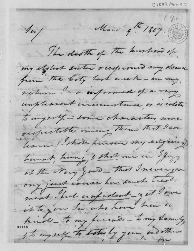Daniel C. Brent to Thomas Jefferson, March 9, 1807