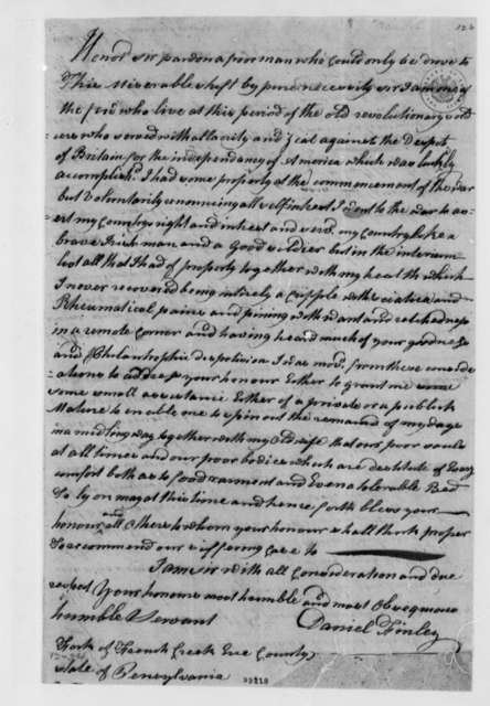 Daniel Finley to Thomas Jefferson, March 28, 1807