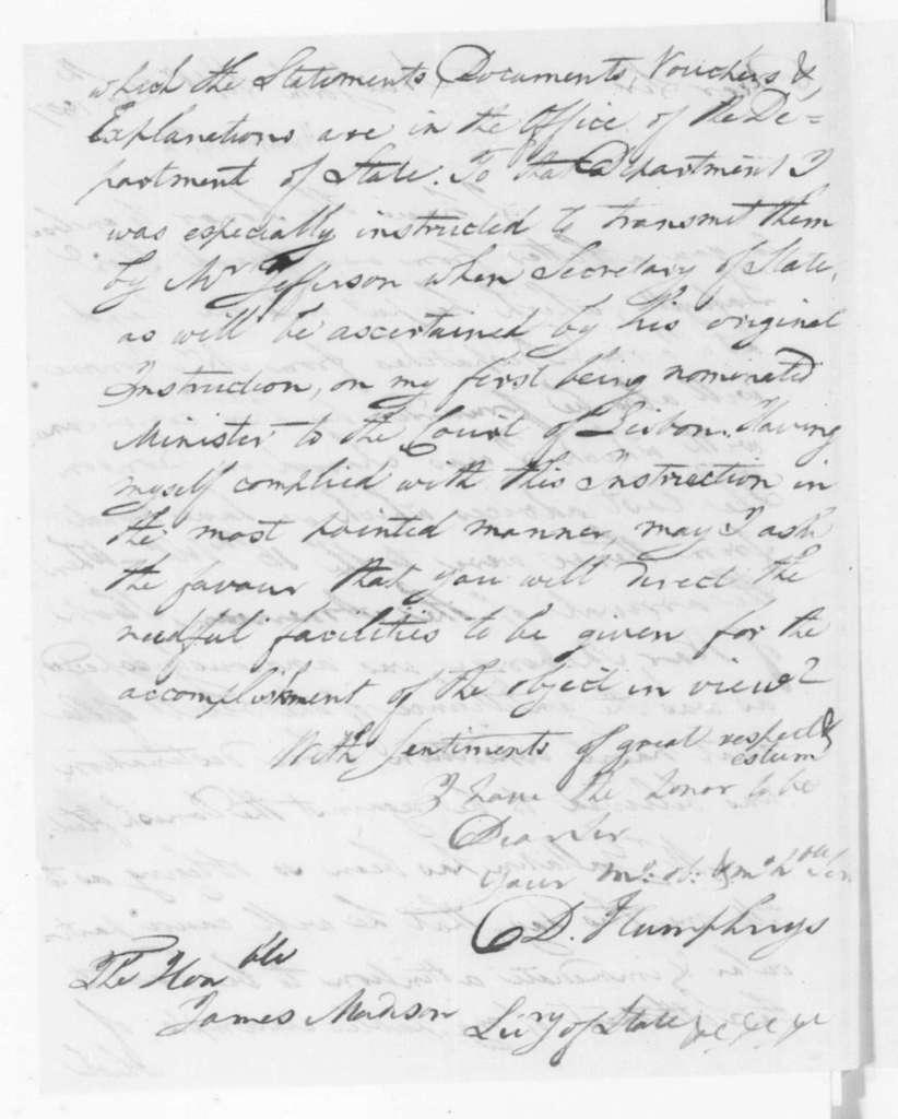 David Humphreys to James Madison, September 26, 1807.