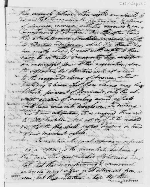 David Humphreys to Thomas Jefferson, September 25, 1807