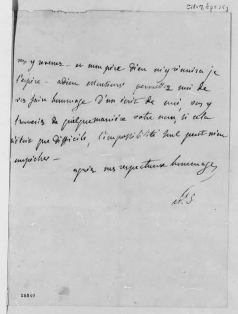 De Stael-Holstein to Thomas Jefferson, April 25, 1807, in French