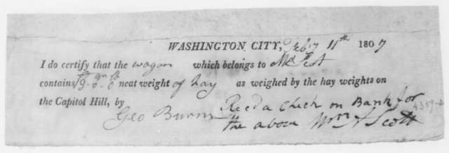 George Burns to W. A. Scott, February 11, 1807. Receipt for weight and payment of shipment of hay.