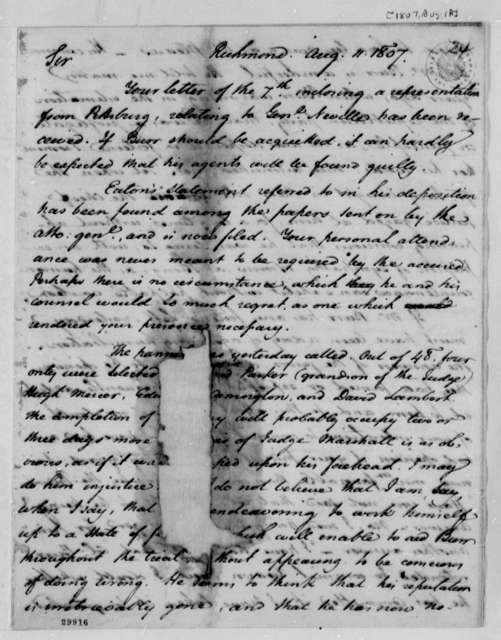 George Hay to Thomas Jefferson, August 11, 1807, Mutilated