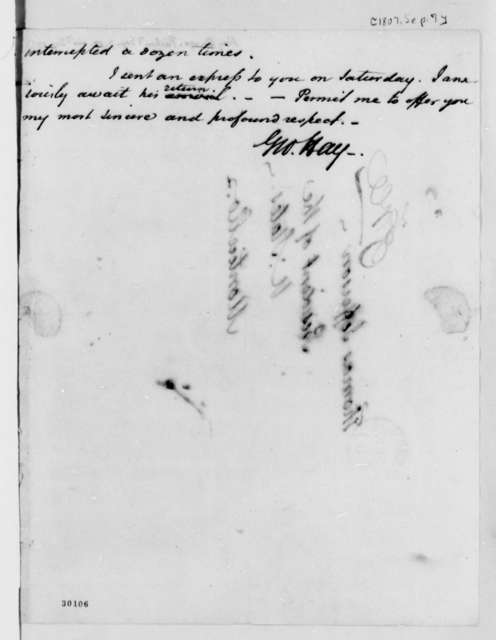 George Hay to Thomas Jefferson, September 7, 1807