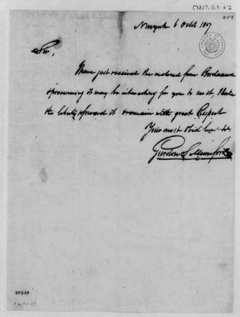 Gurdon S. Mumford to Thomas Jefferson, October 6, 1807