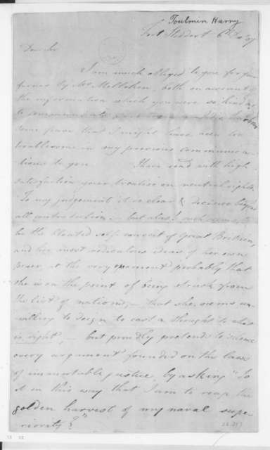 Harry Toulmin to James Madison, December 6, 1807.
