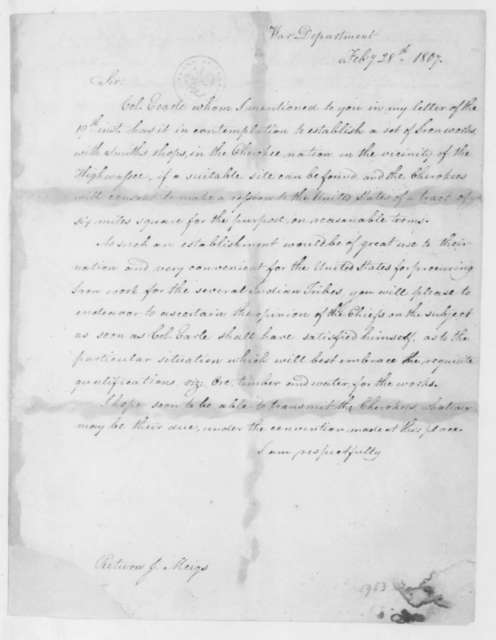 Henry Dearborn to Return J. Meigs, February 28, 1807. Includes extract from letter dated March 26, 1808.