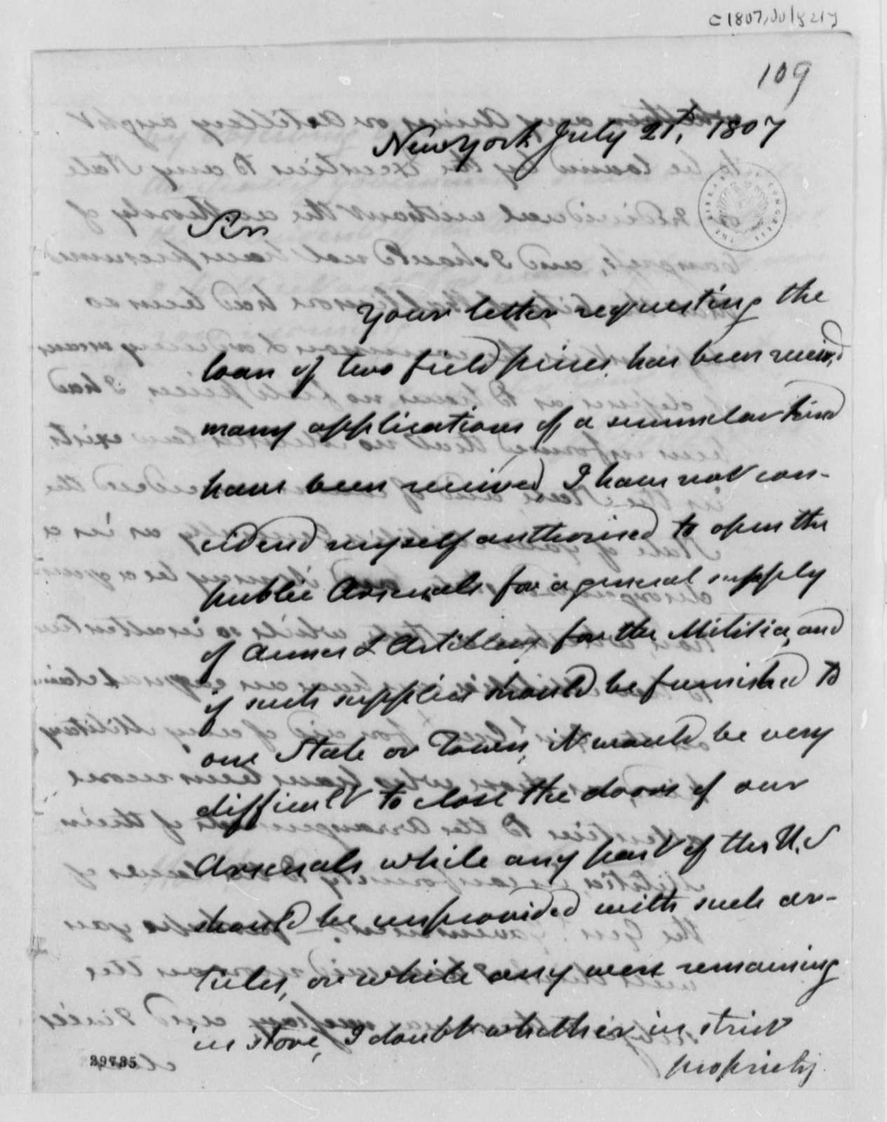 Henry Dearborn to Samuel Smith, July 21, 1807