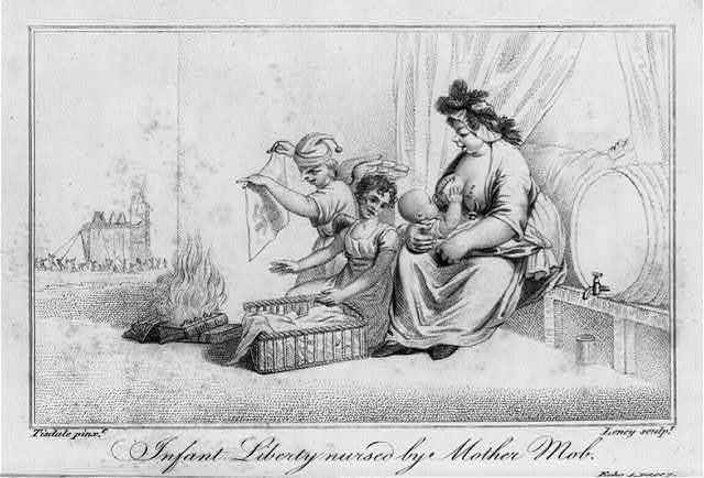 Infant Liberty nursed by Mother Mob