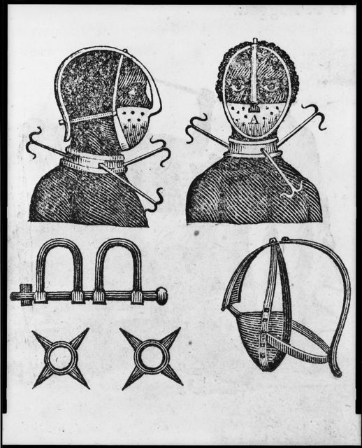 [Iron mask, collar, leg shackles and spurs used to restrict slaves]
