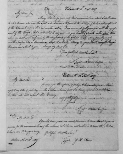 Isaac Coffin to George Joy, November 11, 1807. Includes Nov. 12, 1807 note from Isaac Coffin to George Joy, and a Nov. 12, 1807 note from G. H. Rose to Isaac Coffin.