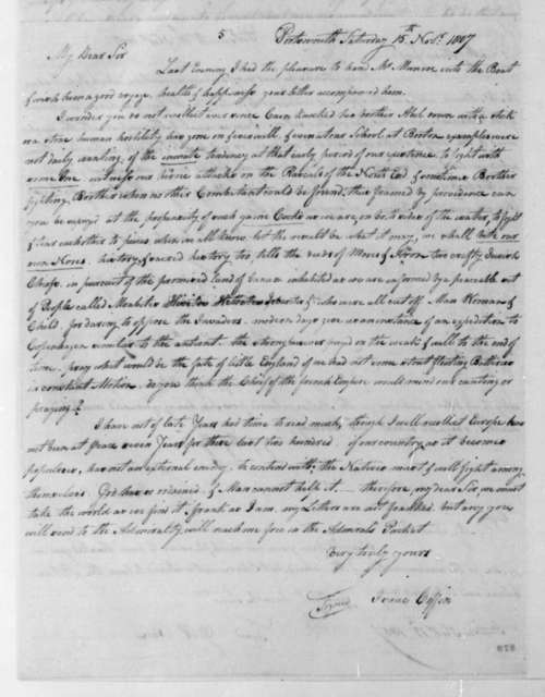 Isaac Coffin to George Joy, November 15, 1807. On verso of Nov. 11, 1807 Isaac Coffin to George Joy.