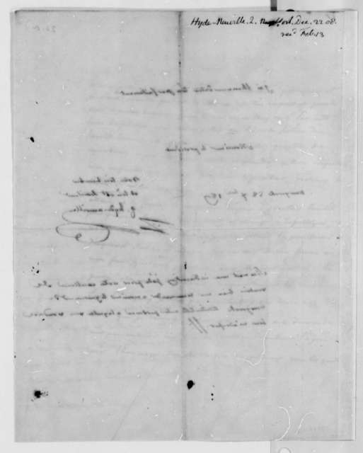 J. G. Hyde de Neuville to Thomas Jefferson, December 22, 1807, in French