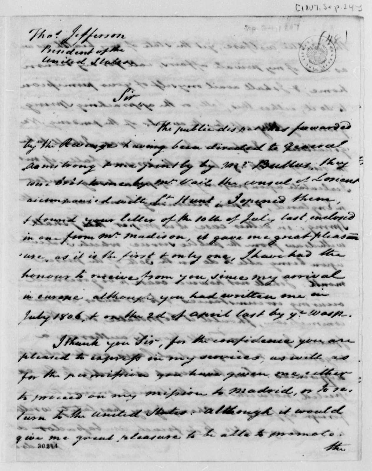 James Bowdoin to Thomas Jefferson, September 24, 1807