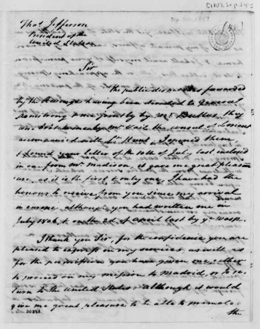 James Bowdoin to Thomas Jefferson, September 24, 1807