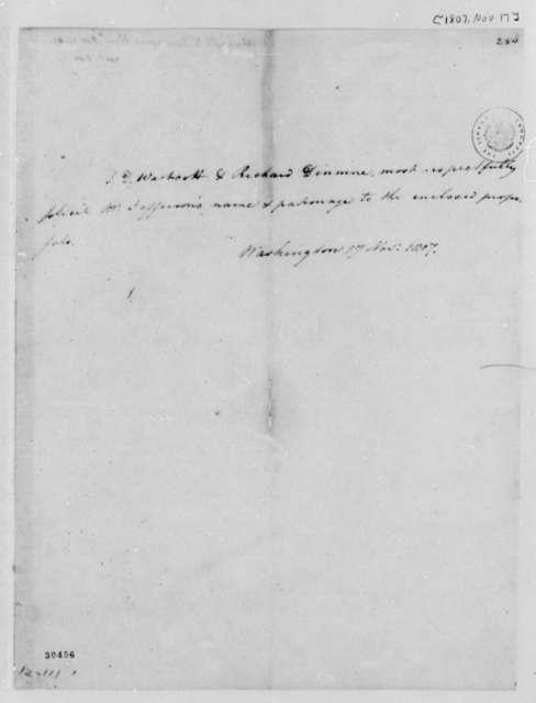 James D. Wescott and Richard Dinmore to Thomas Jefferson, November 17, 1807