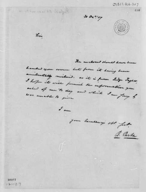 James P. Parke to Thomas Jefferson, October 30, 1807