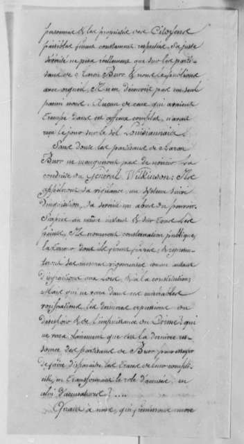 James Wilkinson, June 20, 1807, Testimonial in French on Burr Conspiracy