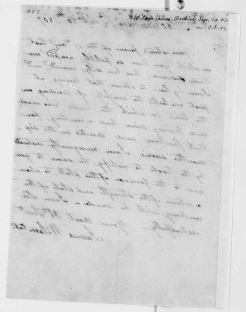 James Wilson to Thomas Jefferson, September 20, 1807