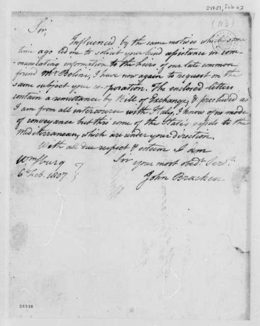 John Bracken to Thomas Jefferson, February 6, 1807