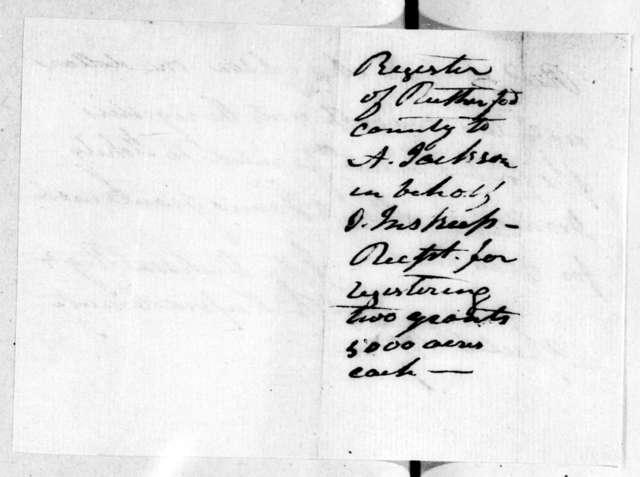 John Dickson to Andrew Jackson, April 6, 1807