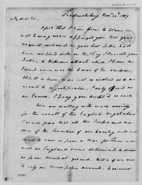 John Minor to Thomas Jefferson, November 23, 1807