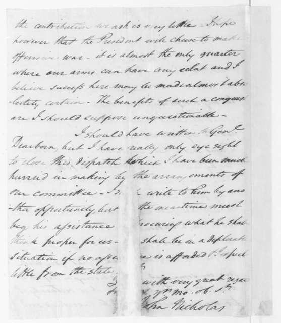 John Nicholas to James Madison, August 2, 1807.