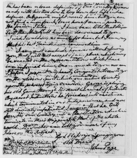John Page to Thomas Jefferson, July 11, 1807