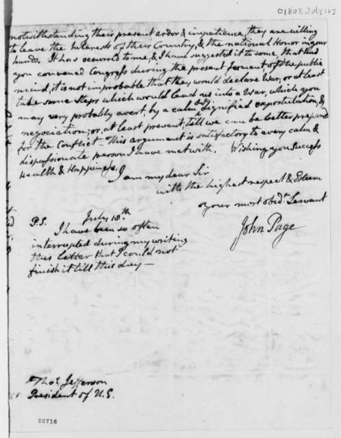 John Page to Thomas Jefferson, July 12, 1807