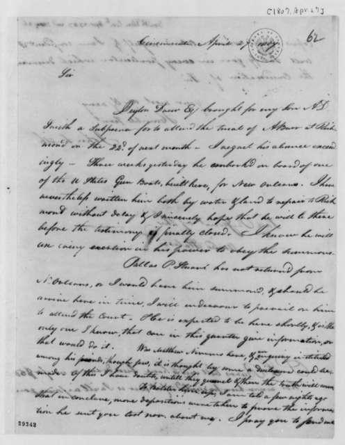 John Smith to Thomas Jefferson, April 27, 1807