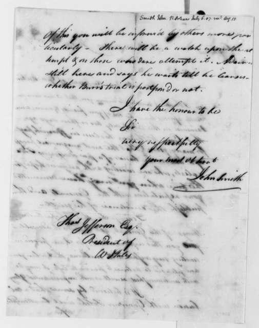 John Smith to Thomas Jefferson, July 6, 1807