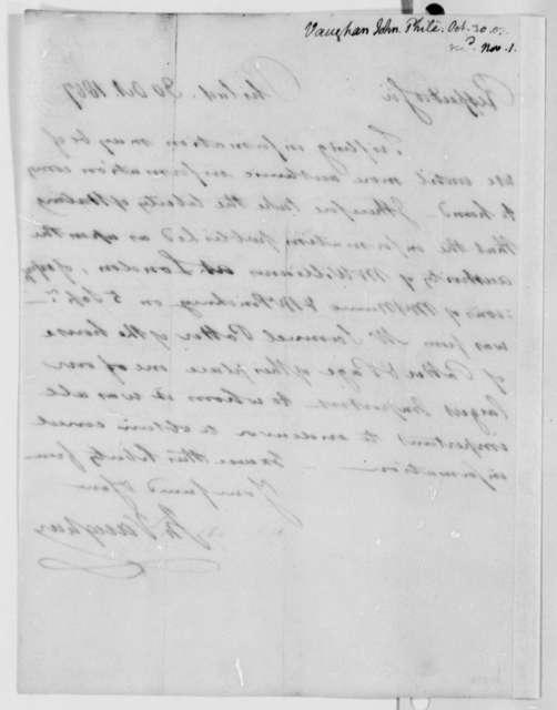 John Vaughan to Thomas Jefferson, October 30, 1807