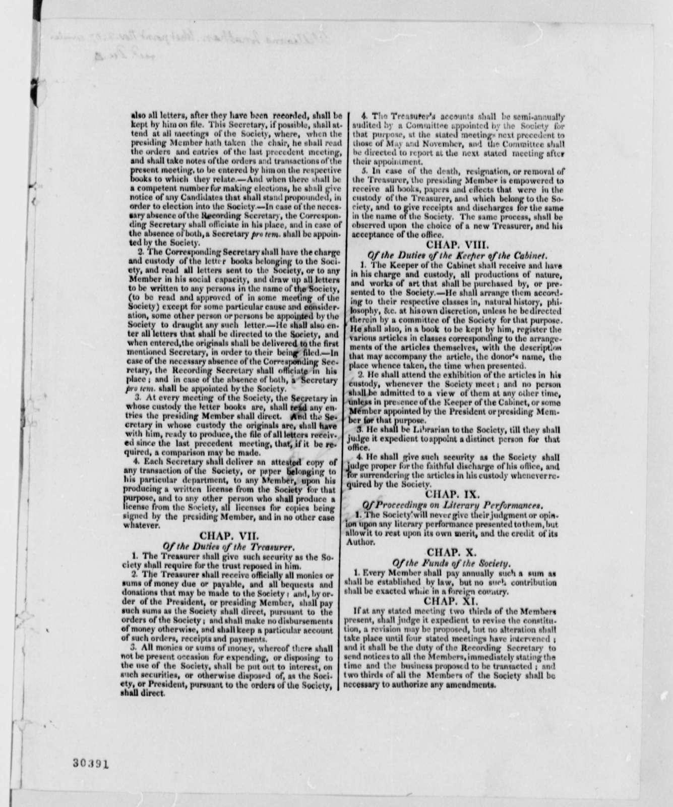 Jonathan Williams to Thomas Jefferson, November 2, 1807, Printed Circular, Constitution of U. S. Military Philosophical Society