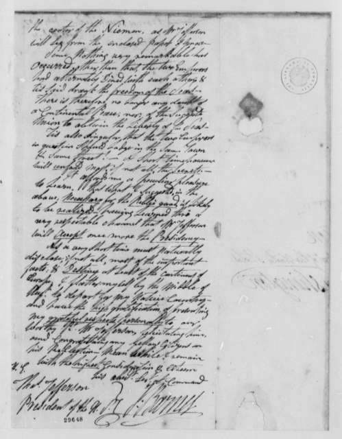 Joseph Barnes to Thomas Jefferson, July 4, 1807