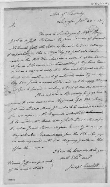 Joseph Crockett to Thomas Jefferson, January 28, 1807
