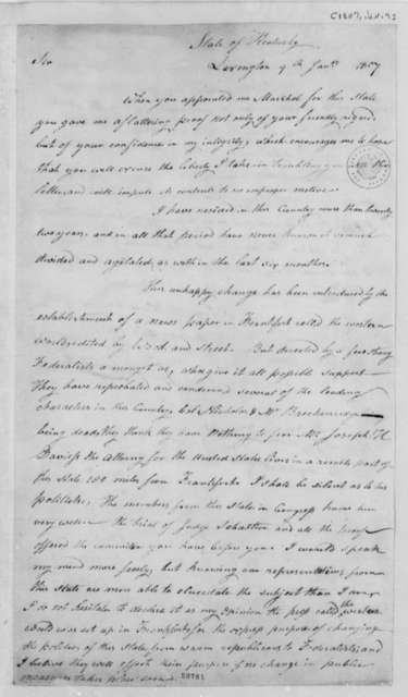 Joseph Crockett to Thomas Jefferson, January 9, 1807