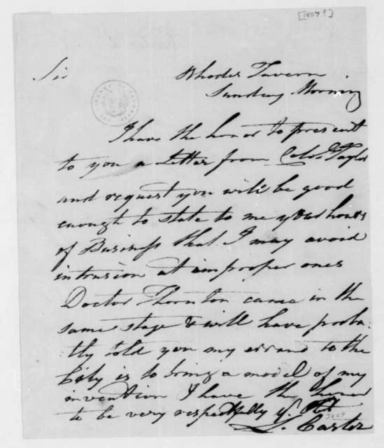 L. Carter to James Madison. 1807.